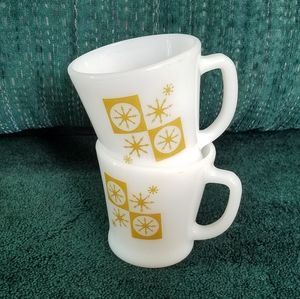 Pair of VTG Fire King Cups / Mugs | Gold Star Glow